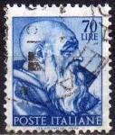 Stamps Italy -  Italia 1961 Scott 823 Sello Dibujos Capilla Sixtina de Michelangelo Zacarias usado