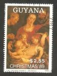Stamps America - Guyana -  navidad, la sagrada familia de rubens