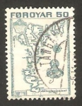 Stamps Denmark -  islas feroe - mapa de las islas feroe