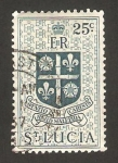 Stamps America - Saint Lucia -  escudo de armas, monograma EIIR