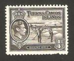 Sellos del Mundo : America : Islas_Turcas_y_Caicos : george VI, recogiendo la sal