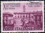 Sellos de Europa - Italia -  Italia 1967 Scott 950 Sello Sede del Parlamento y Capitolio en Roma Aniversario CEE Usado