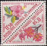 Stamps Africa - Cameroon -  CAMERUN 1963 Scott J34 Sellos ** Flores Erythrina y Hibiscus Rosa Sinensis