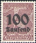 Stamps Europe - Germany -  Deutsches Reich 1923 Scott O31 Sello Nuevo * Cifras 15 Sobreimpresion 100 Saufend