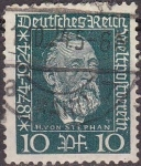 Sellos de Europa - Alemania -  Deutsches Reich 1924 Scott 340 Sello Heinrich Von Stephan 10 usado Michel368 Alemania Allemagne Germ