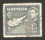 Sellos del Mundo : Asia : Chipre : george VI, mapa de la isla