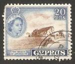 Stamps Asia - Cyprus -  elizabeth II, la playa de afrodita