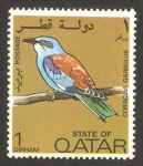 Sellos del Mundo : Asia : Qatar : ave coracias garrulus