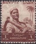 Sellos de Africa - Egipto -  EGIPTO EGYPTO 1955 Scott 368 Sello Agricultura Agricultor Usado Michel PAL70