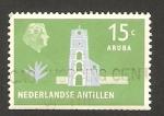 Stamps America - Netherlands Antilles -  reina juliana, Torre de guillermo III a aruba