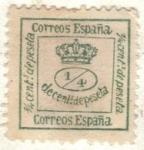 Sellos del Mundo : Europa : España : ESPANA 1873 (E130) Corona mural - Republica  1/4 cent de peseta