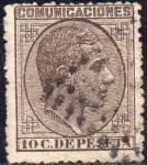 Stamps Europe - Spain -  ESPAÑA 1878 192 Sello Alfonso XII 10c Usado Espana Spain Espagne Spagna