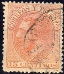 Stamps Europe - Spain -  ESPAÑA 1882 210 Sello º Rey Alfonso XII 15c Spain Espagne Spagna