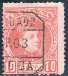 Stamps Spain -  ESPAÑA 1901-5 243 Sello Alfonso XIII 10c Tipo Cadete Usado con numero de control al dorso Espana Spa