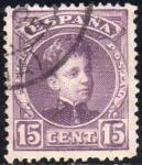 Sellos del Mundo : Europa : España : ESPAÑA 1901-5 245 Sello Alfonso XIII 15c Tipo Cadete Usado con numero de control al dorso Espana Spa