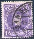 Sellos de Europa - España -  ESPAÑA 1901-5 246 Sello Alfonso XIII 15c Tipo Cadete Usado con numero de control al dorso Espana Spa