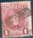 Sellos de Europa - España -  ESPAÑA 1901-5 253 Sello Alfonso XIII 1p Tipo Cadete Usado con numero de control al dorso Espana Spai