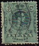 Sellos de Europa - España -  ESPAÑA 1909-22 268 Sello Alfonso XIII 5c Tipo Medallón Usado con numero de control al dorso Espana S
