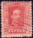 Sellos de Europa - España -  ESPAÑA 1922-30 317 Sello Alfonso XIII 25c Tipo Vaquer Usado nº control al dorso Espana Spain Espagne