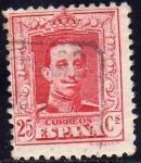 Stamps Spain -  ESPAÑA 1922-30 317 Sello Alfonso XIII 25c Tipo Vaquer Usado nº control al dorso Espana Spain Espagne