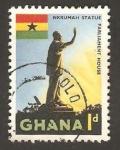 Stamps : Africa : Ghana :  estatua de nkruman, político y filosofo