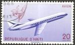 Sellos del Mundo : America : Haití : semana de la aviación, en Puerto Príncipe, avión caravelle