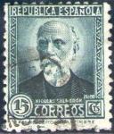 Sellos de Europa - España -  ESPAÑA 1932 657 Sello Nicolás Salmeron 15c c/nº control dorso Usado Republica Española Espana Spain