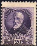 Stamps Spain -  ESPAÑA 1932 666 Sello Personajes Francisco Pi y Margall 20c Usado Republica Española Espana Spain