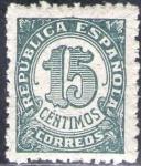Stamps Spain -  ESPAÑA 1938 747 Sello ** Cifras 15c Republica Española