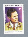 Stamps Asia - Maldives -  50 th Anniversary of CH. Lindbergh's Atlantic Crossing