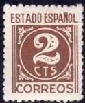 Sellos de Europa - España -  ESPAÑA 1940 915 Sello ** Cifras 2c Estado Español
