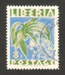 Stamps : Africa : Liberia :  flor, listrostachys caudata