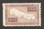 Sellos del Mundo : Asia : Nepal : mapa del país