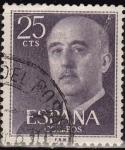Stamps Spain -  ESPAÑA 1955 1146 Sello General Franco 25cts Usado Espana Spain Espagne Spagna Spanje Spanien