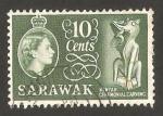 Stamps Asia - Malaysia -  sarawak - elizabeth II, escultura de Kenya