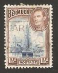 Stamps America - Bermuda -  george VI, puerto de hamilton