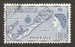 Sellos del Mundo : America : Bermudas : elizabethh II, mapa de la isla