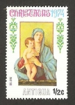 Stamps : America : Antigua_and_Barbuda :  Navidad, la virgen y el niño, de giovanni bellini