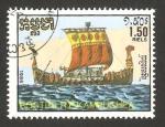 Sellos del Mundo : Asia : Camboya :  Kampuchea - Barco de vela antiguo