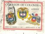 Sellos de America - Colombia -  COLOMBIA 1966 AEREO Visita de los Presidentes de Chile y Venezuela