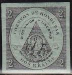 Stamps America - Honduras -  Honduras 1865 Scott 1 Sello Nuevo Escudo de Armas