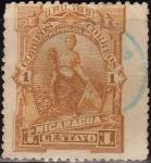 Sellos del Mundo : America : Nicaragua : Nicaragua 1891 Scott 36 Sello Justicia Diosa de la Abundancia Goddess of Plenty usado 1c