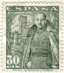 Stamps Europe - Spain -  ESPANA 1954 (E1025) General Franco y Castillo de la Mota 30c 2