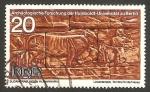 Stamps of the world : Germany :  descubrimientos arqueológicos en musawwarat (sudan), en la universidad humbolt de berloin, dos buey