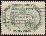 Sellos del Mundo : America : Honduras : Honduras 1947 Scott C164 Sello Antiguo Mapa Monumento y Conferencia Badge usado