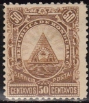 Sellos del Mundo : America : Honduras : Honduras 1890 Scott 48 Sello Nuevo Escudo de Armas 50c