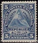 Sellos del Mundo : America : Nicaragua : Nicaragua 1890 Scott 42 Sello Escudo de Armas usado 5c