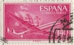 Stamps : Europe : Spain :  ESPAÑA 1955-6 (E1174) Superconstellation y nao Sta Maria 1.40c
