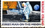 Stamps : America : United_States :  first man on the moon