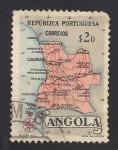 Sellos de Africa - Angola -  Republica de Portugal: Mapa de Angola.